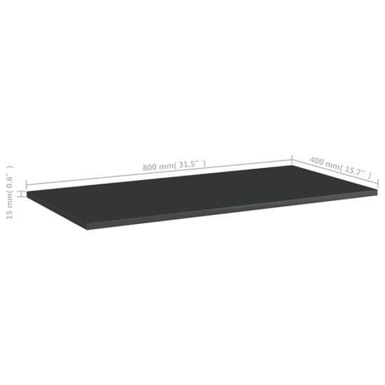 shumee Półki na książki, 4 szt., wysoki połysk, czarne, 80x40x1,5 cm