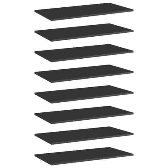 shumee Półki na książki, 8 szt., wysoki połysk, czarne, 80x40x1,5 cm