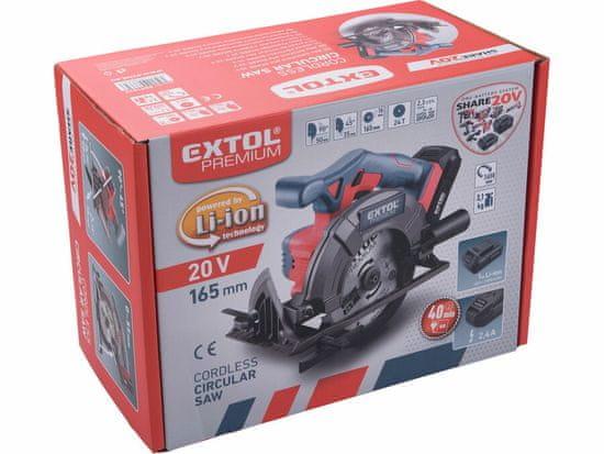 Extol Premium pila kotoučová aku SHARE20V, 165mm, 20V Li-ion, bez baterie a nabíječky