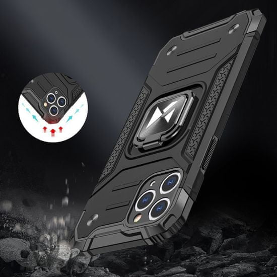 MG Ring Armor plastika ovitek za iPhone 11 Pro Max, črna