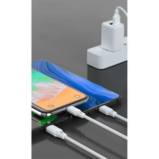 WK Design 3in1 kábel USB - Micro USB / Lightning / USB-C 2A 1.15m, fekete