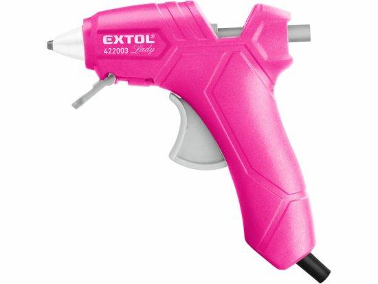 Extol Lady Pištoľ lepiaca tavná ružová, max. 70W, pracovný príkon 25W, tavné tyčinky pr.7,2mm