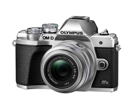 Olympus kompaktni digitalni fotoaparat E-M10 III S 1442II R Kit Silver, srebrni