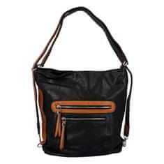 Romina & Co. Bags Dámska praktická koženková kabelka/batoh Frankie, čierna