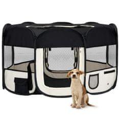 shumee Zložljiva pasja ograjica s torbo črna 145x145x61 cm
