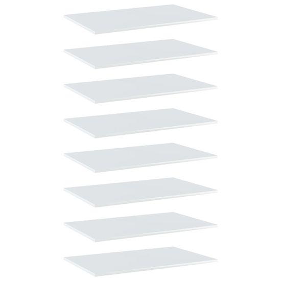 shumee Półki na książki, 8 szt., wysoki połysk, białe, 80x50x1,5 cm