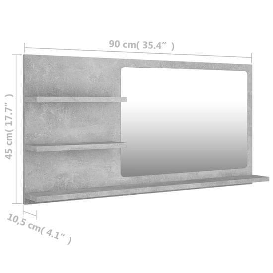 shumee Lustro łazienkowe, szarość betonu, 90x10,5x45 cm, płyta wiórowa