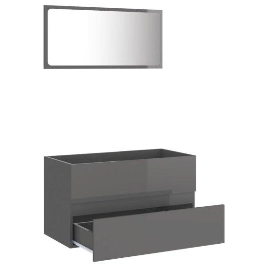 shumee 2-cz. zestaw mebli łazienkowych, wysoki połysk, szary, płyta