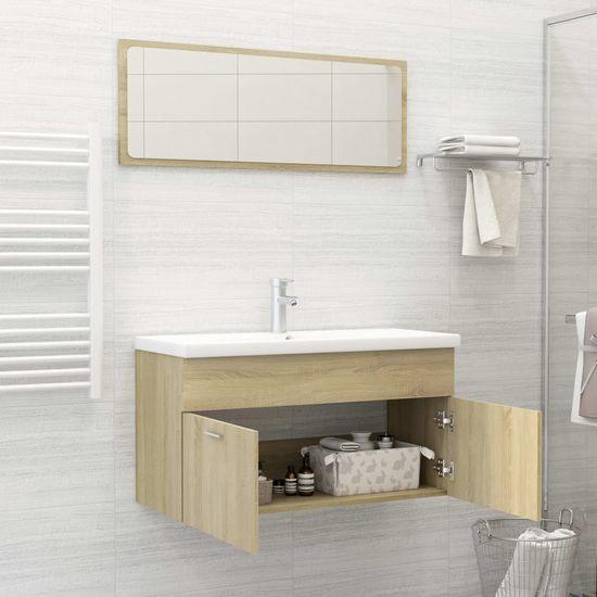 shumee 2-delni komplet kopalniškega pohištva iz hrastove plošče Sonoma