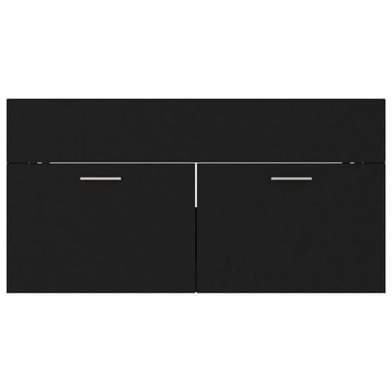 shumee fekete forgácslap mosdószekrény 90 x 38,5 x 46 cm