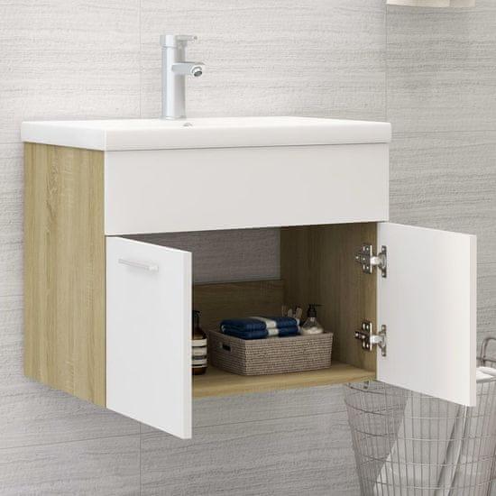 shumee omara za umivalnik Bela in hrast sonoma 60x38,5x46 cm deska