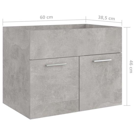 shumee Omarica za umivalnik Siva beton 60x38,5x46 cm Deska