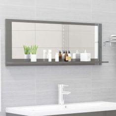 Vidaxl Koupelnové zrcadlo šedé vysoký lesk 100x10,5x37 cm dřevotříska