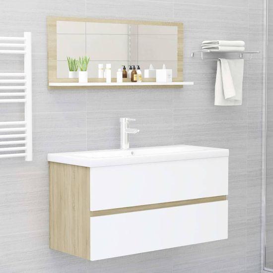 shumee fehér és sonoma színű forgácslap fürdőszobai tükör 90x10,5x37cm