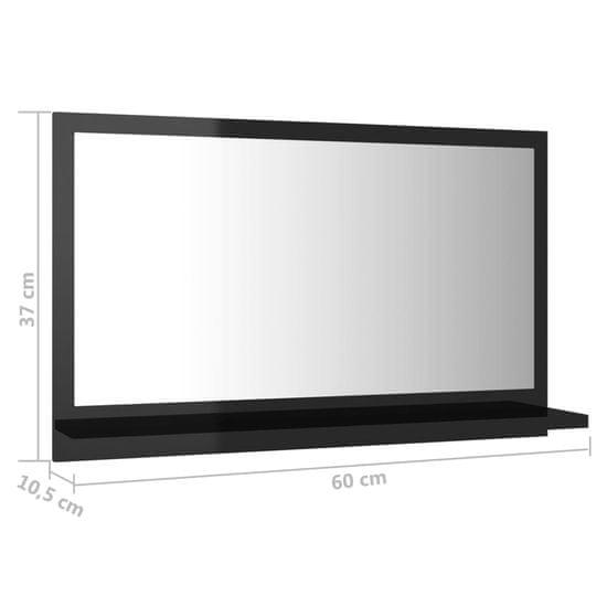 shumee Kopalniško ogledalo visoki sijaj črno 60x10,5x37 cm iverna pl.