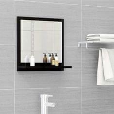 Vidaxl Koupelnové zrcadlo černé vysoký lesk 40x10,5x37 cm dřevotříska