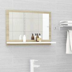 Vidaxl Koupelnové zrcadlo bílé dub sonoma 60x10,5x37 cm dřevotříska