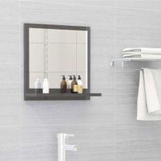 Vidaxl Koupelnové zrcadlo šedé vysoký lesk 40x10,5x37 cm dřevotříska