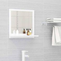 Vidaxl Koupelnové zrcadlo bílé vysoký lesk 40x10,5x37 cm dřevotříska