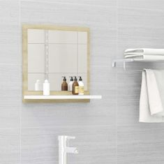 Vidaxl Koupelnové zrcadlo bílé dub sonoma 40x10,5x37 cm dřevotříska