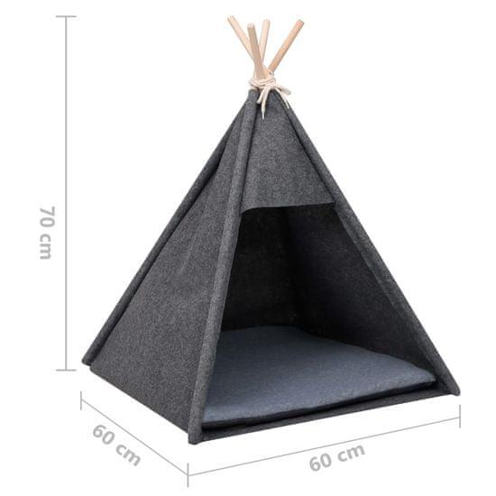 shumee šotor za mačje mačke z vrečko Velvet Black 60x60x70 cm