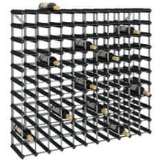 shumee Stojalo za vino za 120 steklenic črno trdna borovina