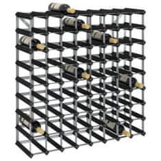 shumee Stojalo za vino za 72 steklenic črno trdna borovina