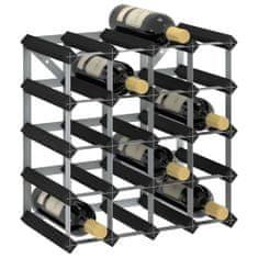shumee Stojalo za vino za 20 steklenic črno trdna borovina