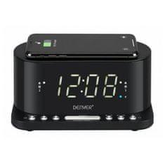 Denver Electronics radio budilka z brezžičnim polnilcem, CRQ-1, Qi, USB, črna