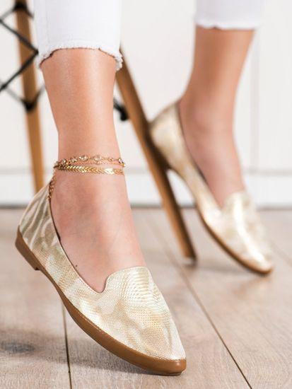 Női mokaszin 70512 + Nőin zokni Gatta Calzino Strech, sárga és arany árnyalat, 39
