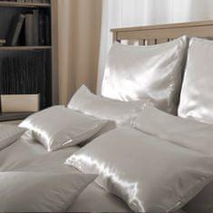 Naturaland Manjša Svilena posteljnina SVETLO RJAVA - Saten svila / 28 momme (mm), na gumbe, 140x200
