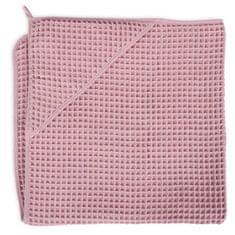Ceba Baby ręcznik z kapturem frotte Waffle Line 100 x 100 Silver Pink Ceba