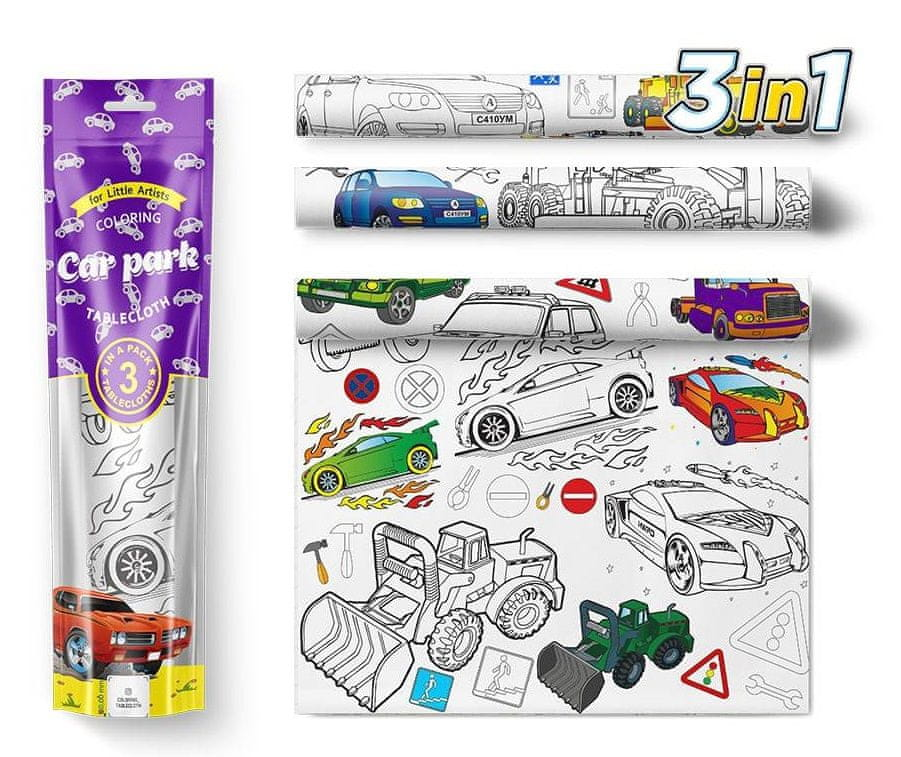 PEXI Malovací ubrusy 3 ks - Auta (Car park)