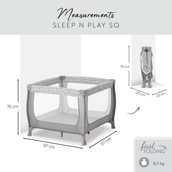 Hauck Sleep'n Play SQ 2021 nordic grey putni krevetić