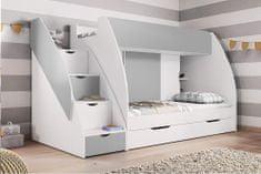HELCEL Patrová dětská postel Martina, bílá/šedá