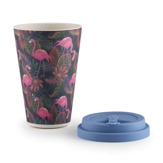 Rosmarino bambusov lonček za kavo, 400 ml, Tropical Flamingo