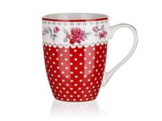 Banquet Rosa keramična skodelica, rdeča, 340 ml