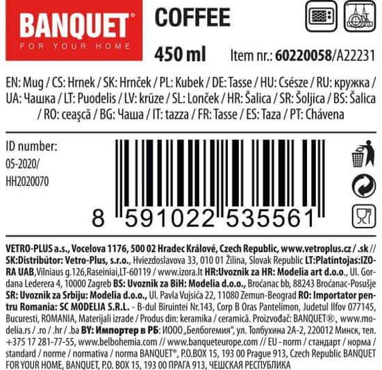 Banquet Coffee visoka keramična skodelica, bež, 450 ml