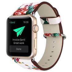 4wrist Kožený řemínek pro Apple Watch s motivem květin - Bílý 38/40 mm