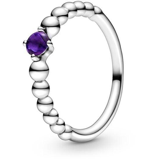 Pandora Stříbrný prsten pro ženy narozené v únoru 198867C03 stříbro 925/1000