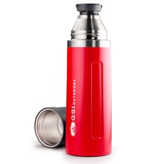 Gsi Glacier Stainless Vacuum Bottle; 1l; red