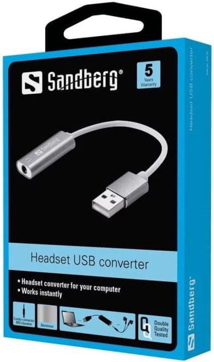 Sandberg Headset USB converter, adaptér 3,5mm jack na USB, bílá/stříbrná
