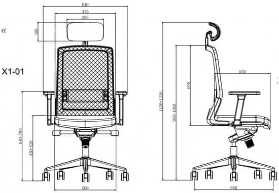 Hyle X1-01AS-F pisarniški stol, siv
