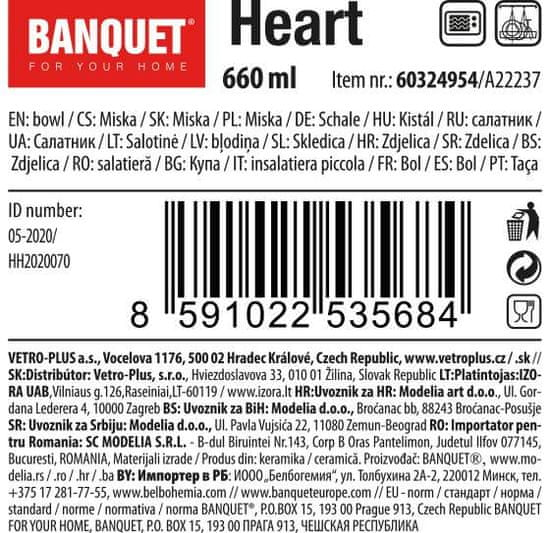 Banquet Heart keramična skleda, 660 ml