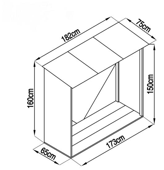 IWHOME Přístřešek na dřevo plechový HESTIA CW-A antracit IWH-10230010