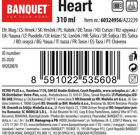 Banquet Heart keramična skodelica, 310 ml