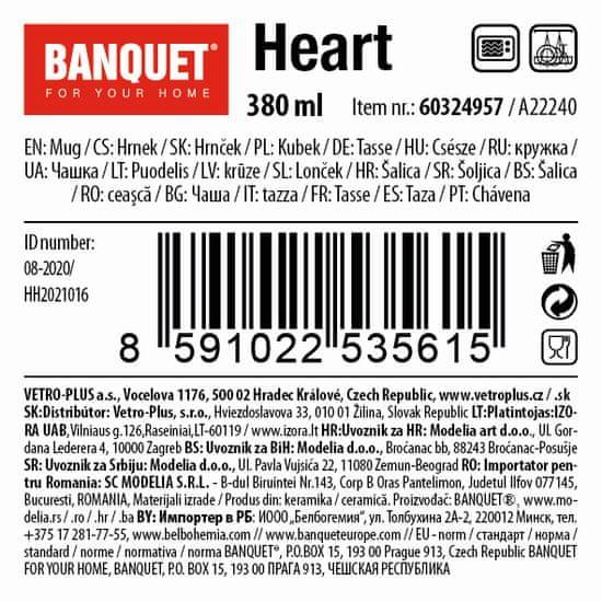 Banquet Heart keramična skodelica, 380 ml