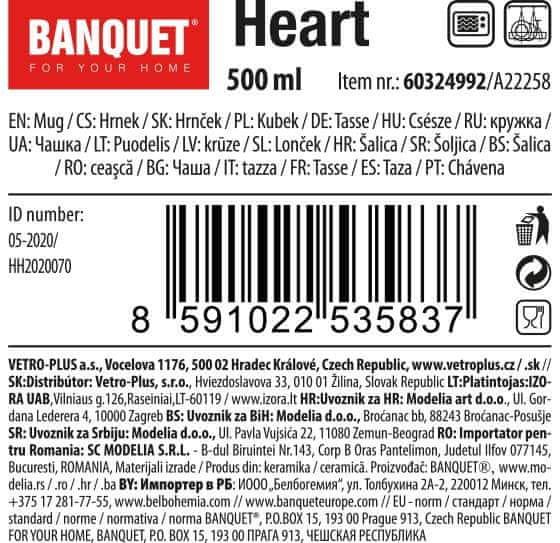 Banquet Hrnek keramický HEART 500 ml růžová