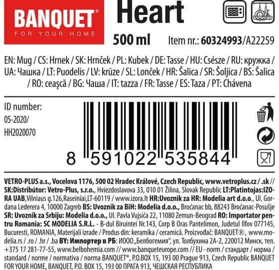 Banquet Hrnek keramický HEART 500 ml bordó