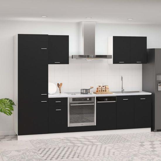 Greatstore 7-dielna sada kuchynských skriniek čierna drevotrieska